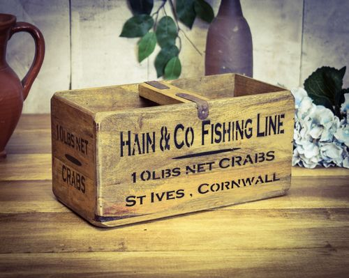 Medium Vintage Box, St Ives Cornwall Fish Box